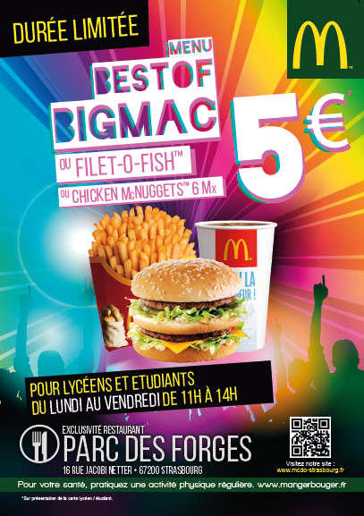menu etudiant au parc des forges mcdonald s. Black Bedroom Furniture Sets. Home Design Ideas